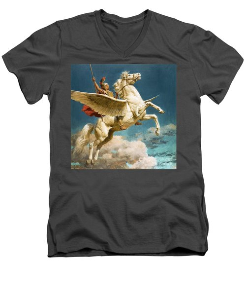 Pegasus The Winged Horse Men's V-Neck T-Shirt by Fortunino Matania
