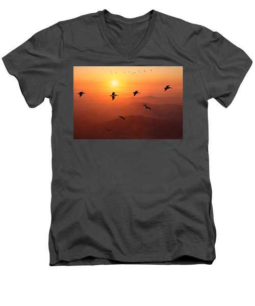 Men's V-Neck T-Shirt featuring the photograph Pelican Migration by Chris Lord