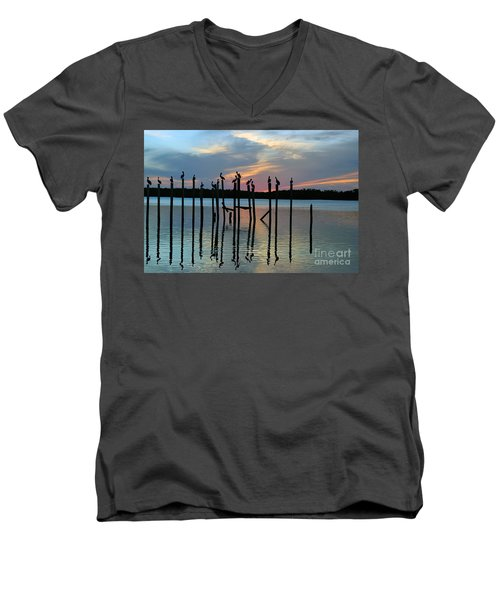 Men's V-Neck T-Shirt featuring the photograph Pelican Resting End Of Day by Dan Friend