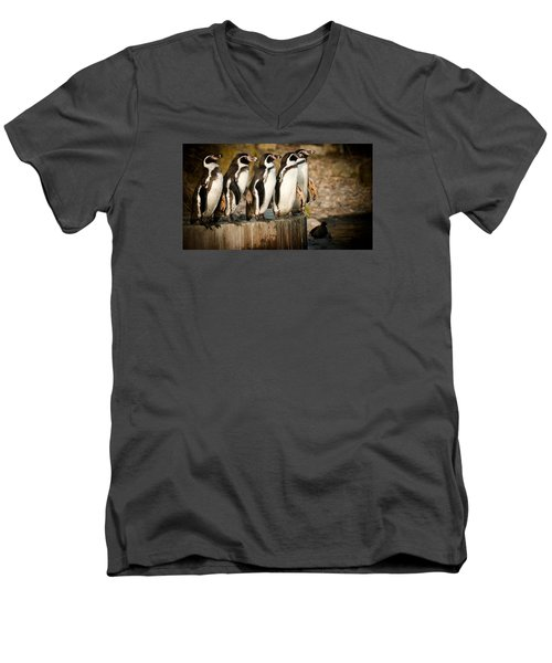 Men's V-Neck T-Shirt featuring the photograph Pick Up A Penguin by Chris Boulton