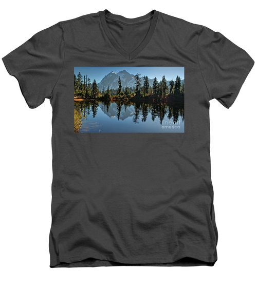 Men's V-Neck T-Shirt featuring the photograph Picture Lake - Heather Meadows Landscape In Autumn Art Prints by Valerie Garner