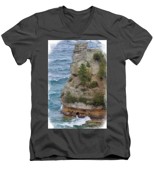 Men's V-Neck T-Shirt featuring the photograph Pictured Rocks In Oil by Deniece Platt