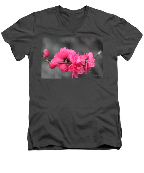 Men's V-Neck T-Shirt featuring the photograph Pink Blossoms  by Amy Gallagher