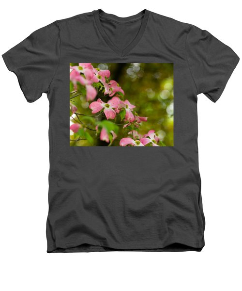 Pink Dogwood Blooms Men's V-Neck T-Shirt