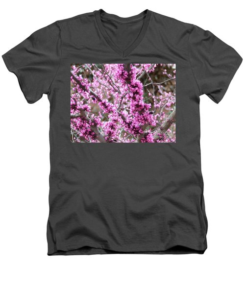 Men's V-Neck T-Shirt featuring the photograph Pink Flower by Andrea Anderegg