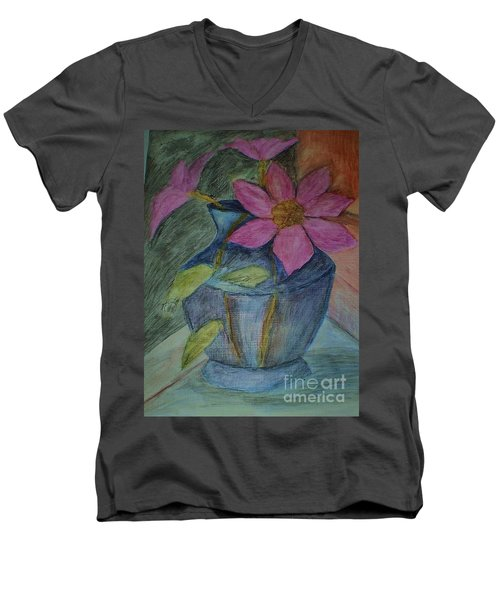 Men's V-Neck T-Shirt featuring the drawing Pink Flowers In Blue Vase by Christy Saunders Church