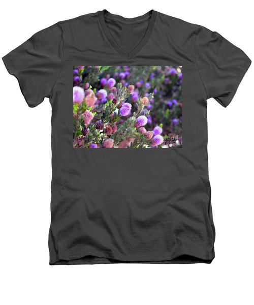 Men's V-Neck T-Shirt featuring the photograph Pink Fuzzy Balls by Clayton Bruster