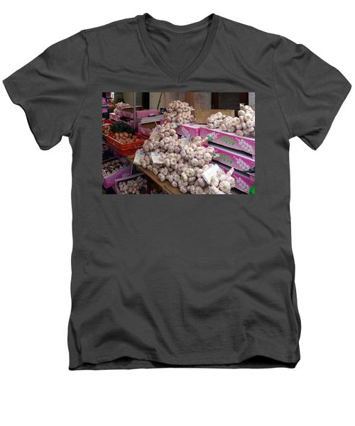 Men's V-Neck T-Shirt featuring the photograph Pink Garlic by Carla Parris