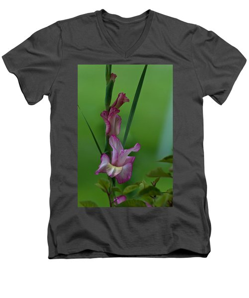 Men's V-Neck T-Shirt featuring the photograph Pink Gladiolus by Ed Gleichman