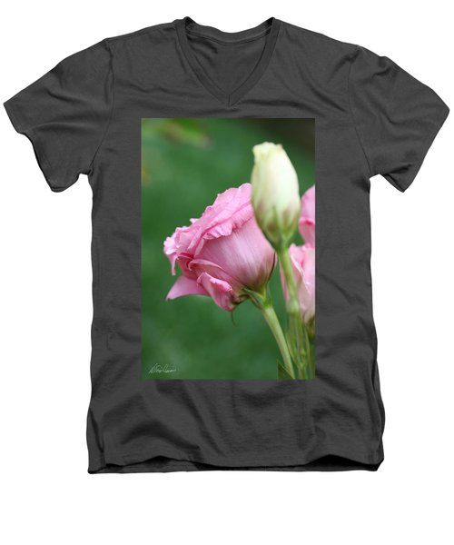 Pink Lisianthus Men's V-Neck T-Shirt