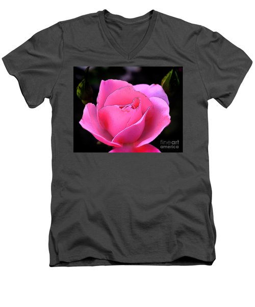 Men's V-Neck T-Shirt featuring the photograph Pink Rose Day by Clayton Bruster