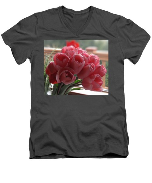 Pink Tulips In Vase Men's V-Neck T-Shirt by Katie Wing Vigil