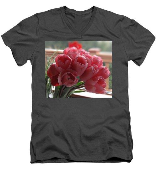 Pink Tulips In Vase Men's V-Neck T-Shirt
