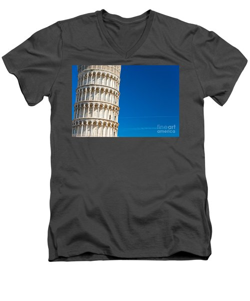 Men's V-Neck T-Shirt featuring the photograph Pisa Leaning Tower by Luciano Mortula