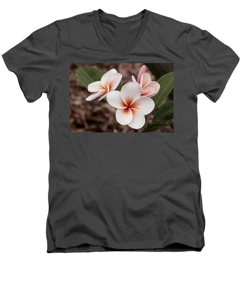 Men's V-Neck T-Shirt featuring the photograph Plumeria   Kona Hawii by James Steele