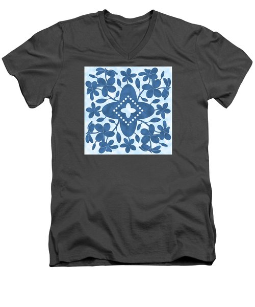 Plumeria Hawaiian Quilt Block Men's V-Neck T-Shirt