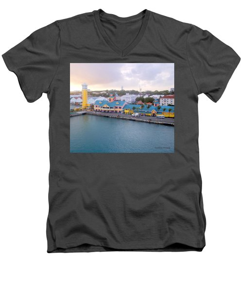 Men's V-Neck T-Shirt featuring the photograph Port Of Call by Cynthia Amaral