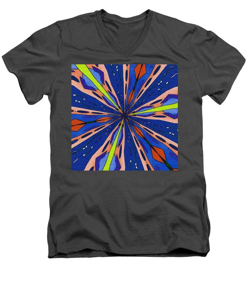 Men's V-Neck T-Shirt featuring the digital art Portal To The Past by Alec Drake