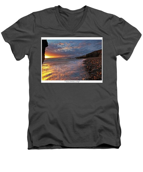 Men's V-Neck T-Shirt featuring the photograph Porth Swtan Cove by Beverly Cash