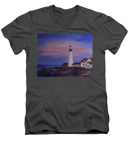 Men's V-Neck T-Shirt featuring the painting Portland Head Lighthouse At Dawn by Julie Brugh Riffey