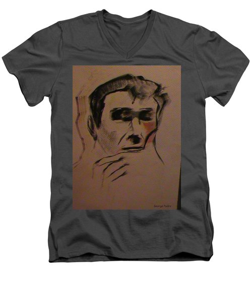 Men's V-Neck T-Shirt featuring the painting Portrait Of Frank Frazetta by George Pedro