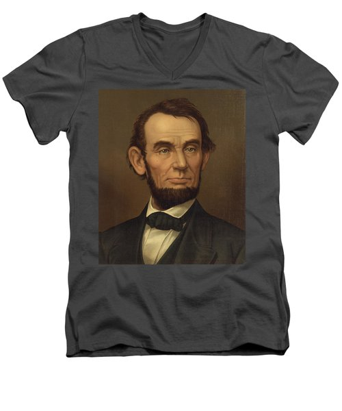 Men's V-Neck T-Shirt featuring the photograph President Of The United States Of America - Abraham Lincoln  by International  Images