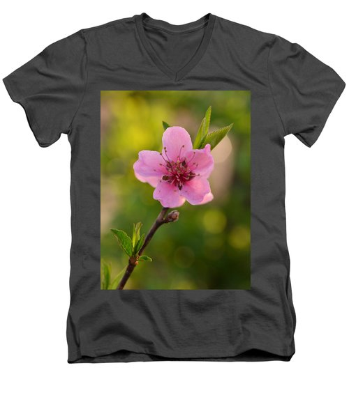 Pretty Pink Peach Men's V-Neck T-Shirt