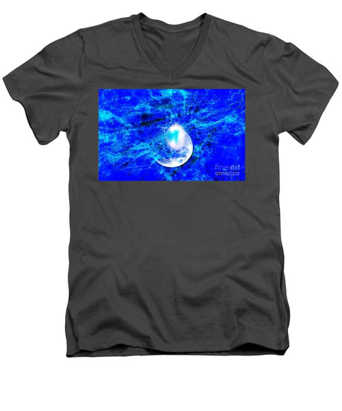 Men's V-Neck T-Shirt featuring the digital art Prophecy - The Second Coming Of The Lord by Fania Simon