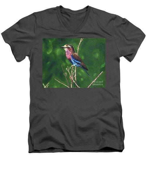 Purple And Blue Bird Men's V-Neck T-Shirt