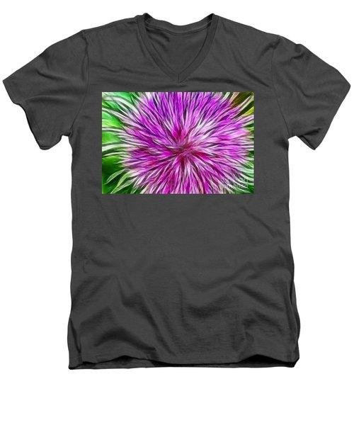 Purple Flower Fractal Men's V-Neck T-Shirt