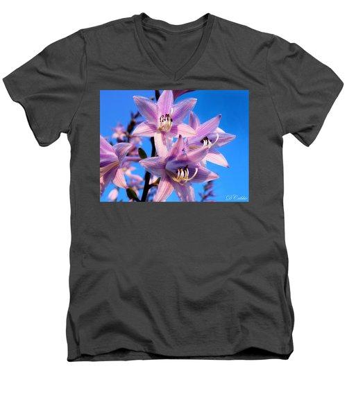 Men's V-Neck T-Shirt featuring the photograph Purple Hosta Blooms by Davandra Cribbie
