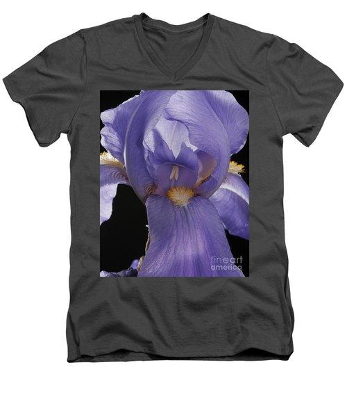 Men's V-Neck T-Shirt featuring the photograph Purple Iris by Art Whitton