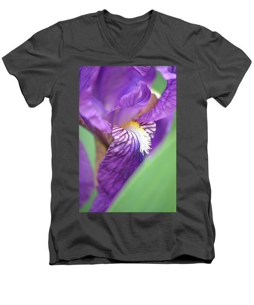 Men's V-Neck T-Shirt featuring the photograph Purple Iris by JD Grimes