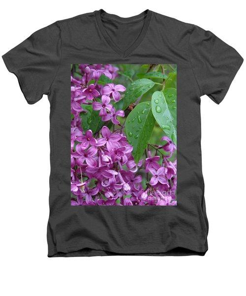 Purple Lilac Men's V-Neck T-Shirt by Laurel Best