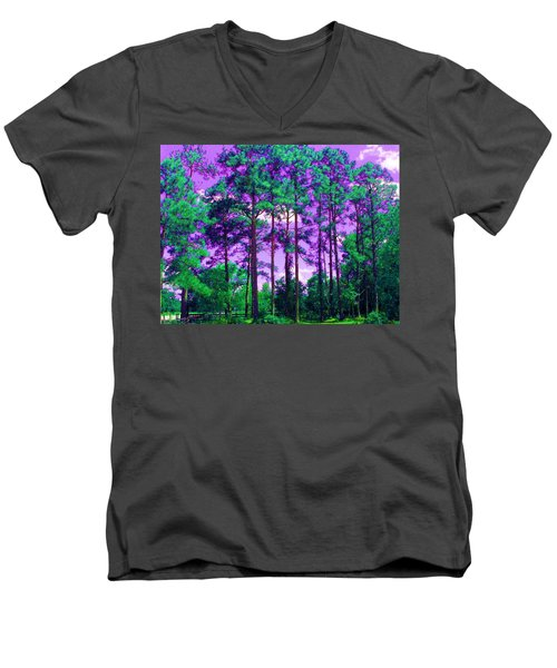 Men's V-Neck T-Shirt featuring the photograph Purple Sky by George Pedro