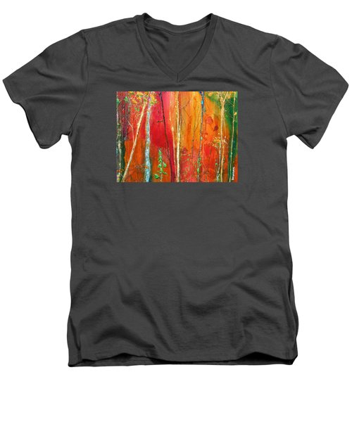 Men's V-Neck T-Shirt featuring the painting Quinacridone Hollow  by Dan Whittemore