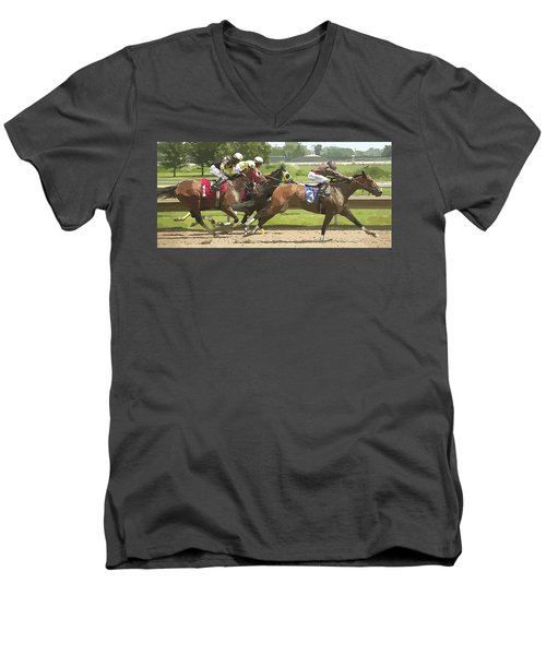 Men's V-Neck T-Shirt featuring the photograph Racetrack Views by Alice Gipson
