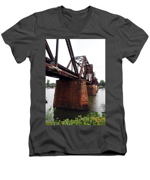 Men's V-Neck T-Shirt featuring the photograph Railroad Bridge 1 by Kay Lovingood