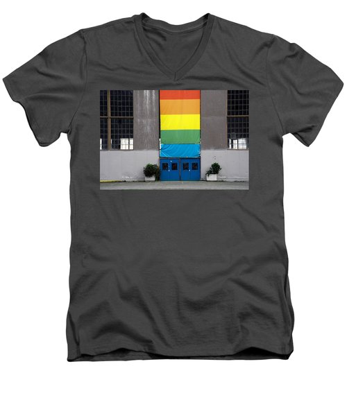 Men's V-Neck T-Shirt featuring the photograph Rainbow Banner Building by Kathleen Grace