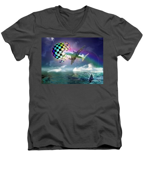 Men's V-Neck T-Shirt featuring the digital art Rainbow Set Free by Rosa Cobos
