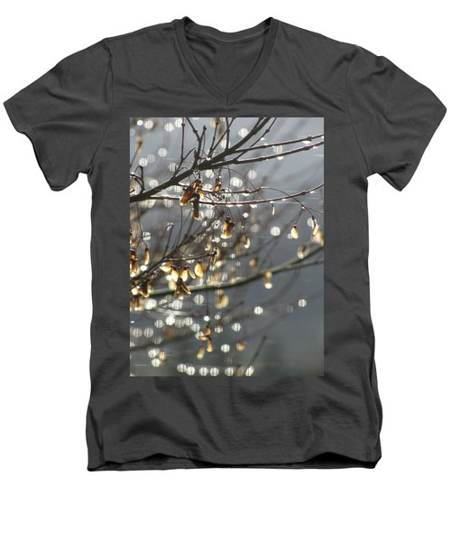 Raindrops And Leaves Men's V-Neck T-Shirt by Katie Wing Vigil