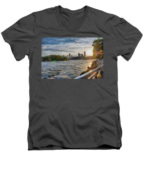 Men's V-Neck T-Shirt featuring the photograph Rapids Sunset by Michael Frank Jr