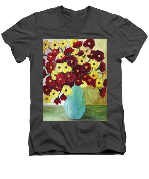 Men's V-Neck T-Shirt featuring the painting Red And Yellow Bouquet In Blue by Christy Saunders Church