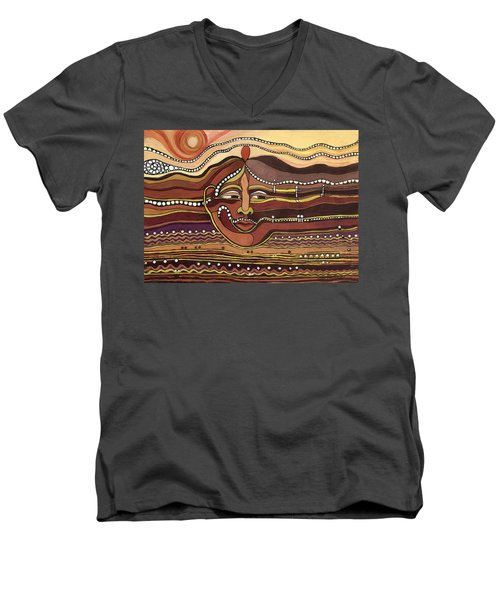 Red Aztec Face In Nature Landscape Abstract Fantasy With Earth Colors Sunset And Skyline Men's V-Neck T-Shirt