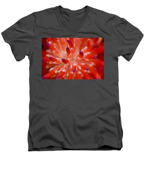 Red Bromeliad Men's V-Neck T-Shirt by Rich Franco
