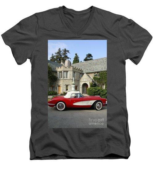 Red Corvette Outside The Playboy Mansion Men's V-Neck T-Shirt