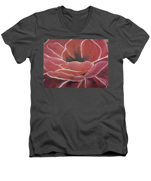Men's V-Neck T-Shirt featuring the painting Red Flower by Christy Saunders Church