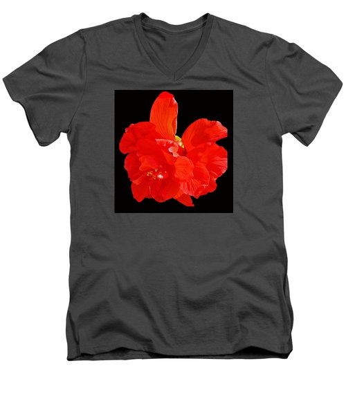 Red Hibiscus Men's V-Neck T-Shirt by Cindy Manero