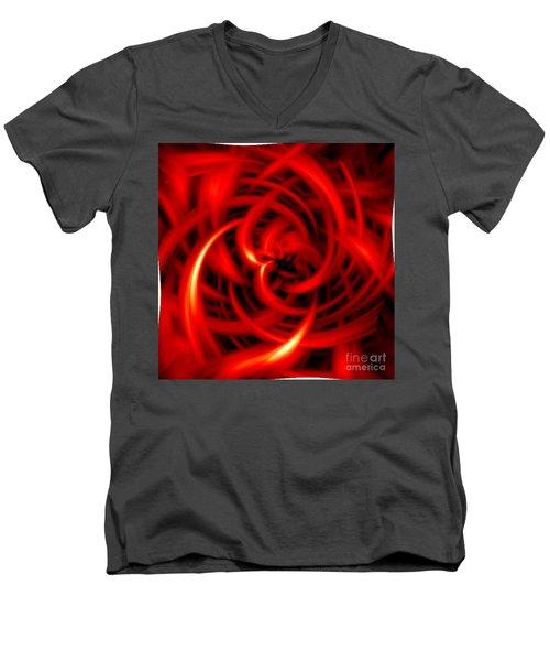 Men's V-Neck T-Shirt featuring the digital art Red Hot by Davandra Cribbie
