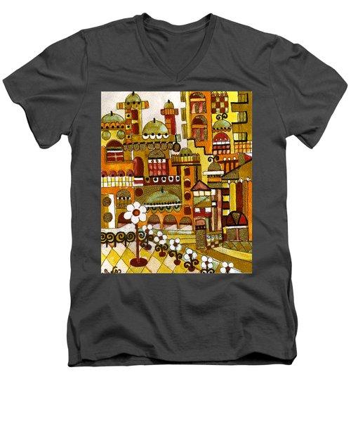 Red Kasba Skyline Landscape Art Of Old Town Dome And Minarett Decorated With Flower Arch In Orange Men's V-Neck T-Shirt by Rachel Hershkovitz